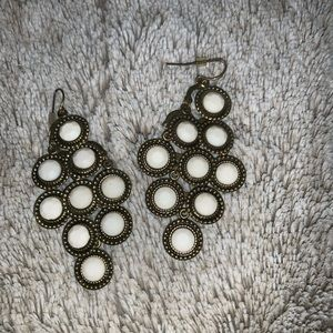 Gold and White Dangley Earrings